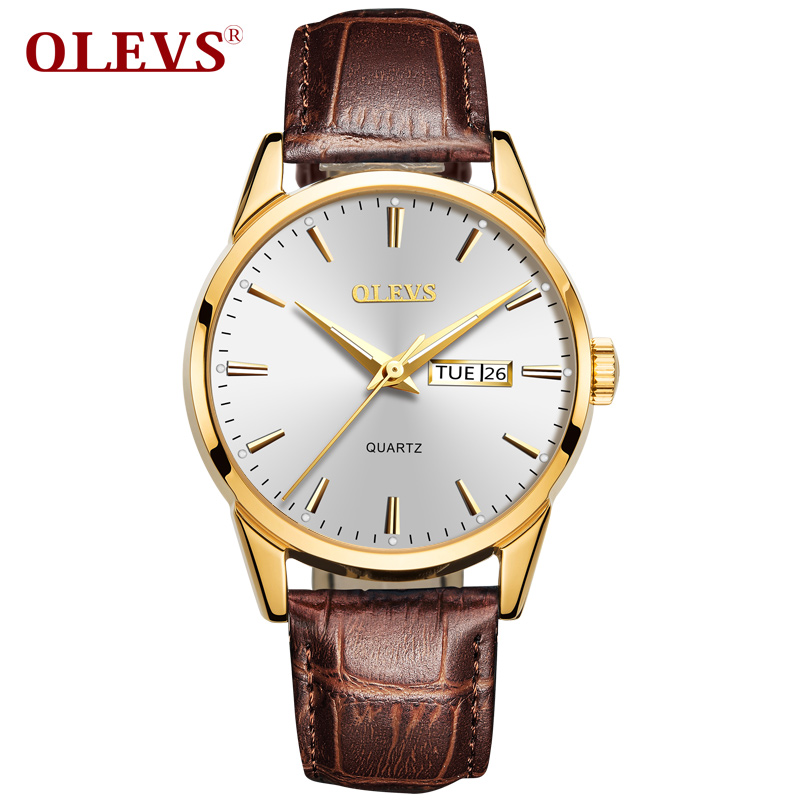 OLEVS Fashion Mens Sport Watches Auto Date Rose Gold Wrist Watch Men Leather Quartz Watch 2018 Male Clock hour relogio Masculino fashion sewor watches mens self wind automatic mechanical watch auto date analog leather sport men wrist watch relogio masculino