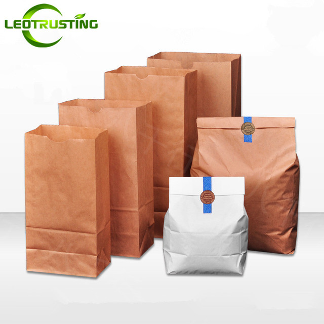 Leotrusting 50pcs 50gsm Kraft Paper Take Out Food Bags Small Gift Wedding Party Birthday Pouches Vegetable Fruit