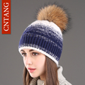 CNTANG Women Winter Knitted Rabbit Fur Hats Warm Fashion Gradient Color Natural Pompom Caps Female Wool Beanies Raccoon Fur Hat