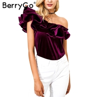 BerryGo One Shoulder Velvet Ruffle Blouse Shirt Women Sleeveless Sexy Autumn Blouse Blusas Elegant Party Streetwear