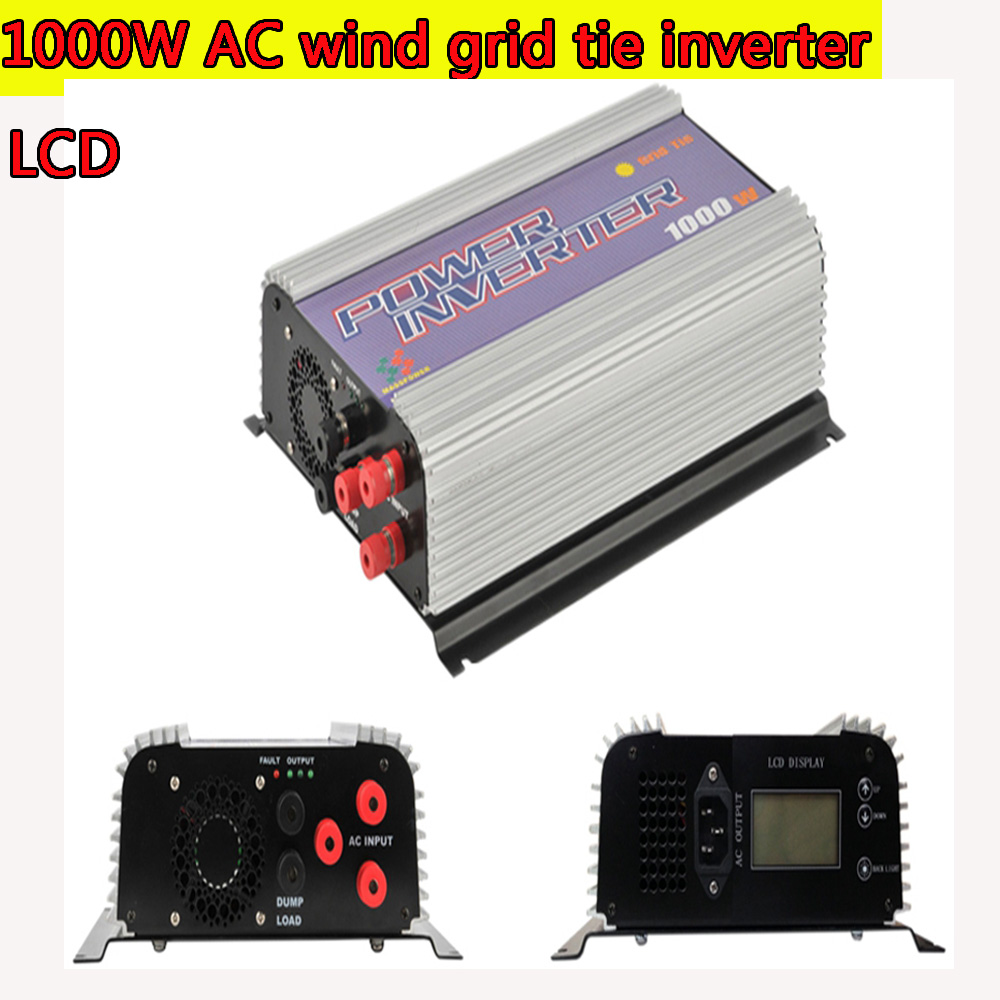1000W MPPT Pure Sine Wave On Grid Inverter for 3 Phase AC 22-60V/45-90V Wind turbine LCD Wind Grid Tie Inverter with Dump Load solar power on grid tie mini 300w inverter with mppt funciton dc 10 8 30v input to ac output no extra shipping fee