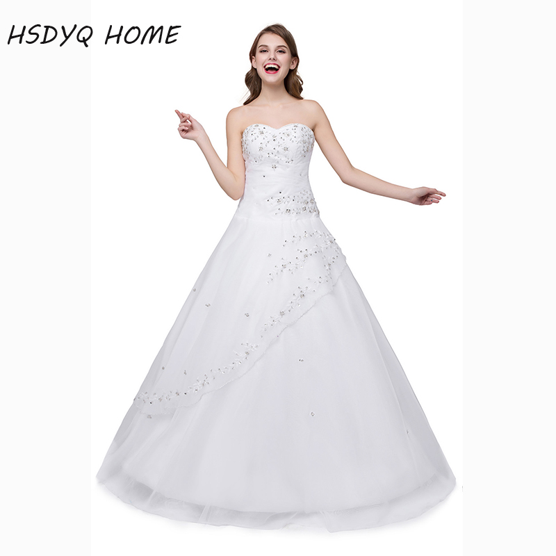 HSDYQ HOME In stock White Wedding Dresses Classic Design A line Strapless Robe De Mariage Vestido De Noiva 2017 bridal gown