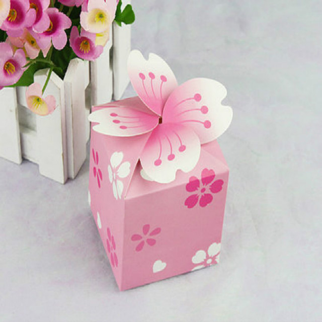 100pcs Cherry Pink Paper Small Laser Gift Candy Bo Wedding Party Favor Bags Box Baby