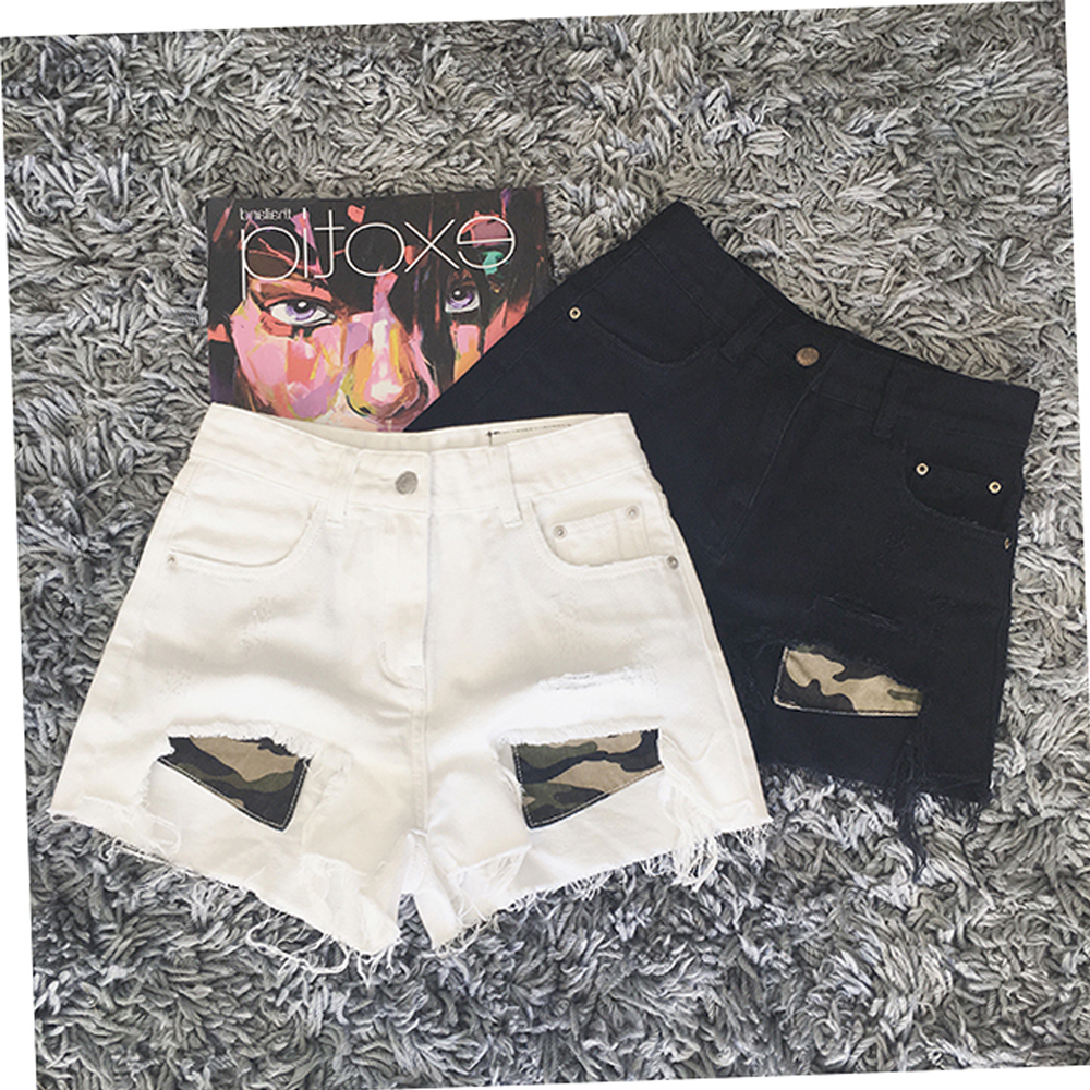 Summer new 2017 new white high waist denim shorts female summer Korean students loose wide leg hot pants was thin