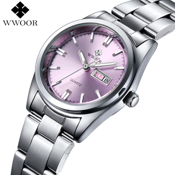 Wwoor Luxury Date Silver Stainless Steel Ladies Women Quartz Watches