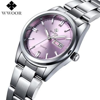 WWOOR Women's Luxury Date Silver Stainless Steel Ladies Quartz Watches