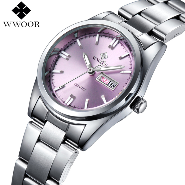 WWOOR Women's Luxury Date Silver Stainless Steel Ladies Quartz Watches