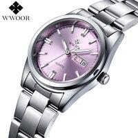 새로운 브랜드 Relogio Feminino 날짜 일 시계 여성 스테인레스 스틸 시계 패션 캐주얼 시계 석영 손목 여성 시계