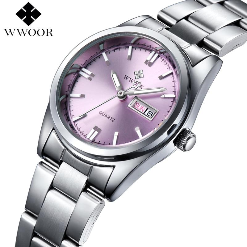 New Brand Relogio Feminino Date Day Clock Female Stainless Steel font b Watch b font Ladies