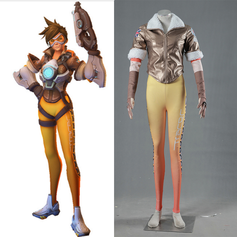 Hot Game OW Tracer Lena Oxton Cosplay Costume Halloween Carnival Christmas Tracer Suit For Adult Custom Made tracer lena oxton costume cosplay yellow suit game uniform female yellow version halloween christmas adult women custom made