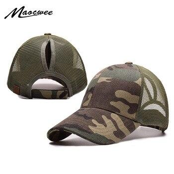 Ponytail Baseball Cap Women Messy Bun Baseball Hat Snapback Camouflage Mesh Cap Spring and Summer Camo Outdoor Hat knit cap