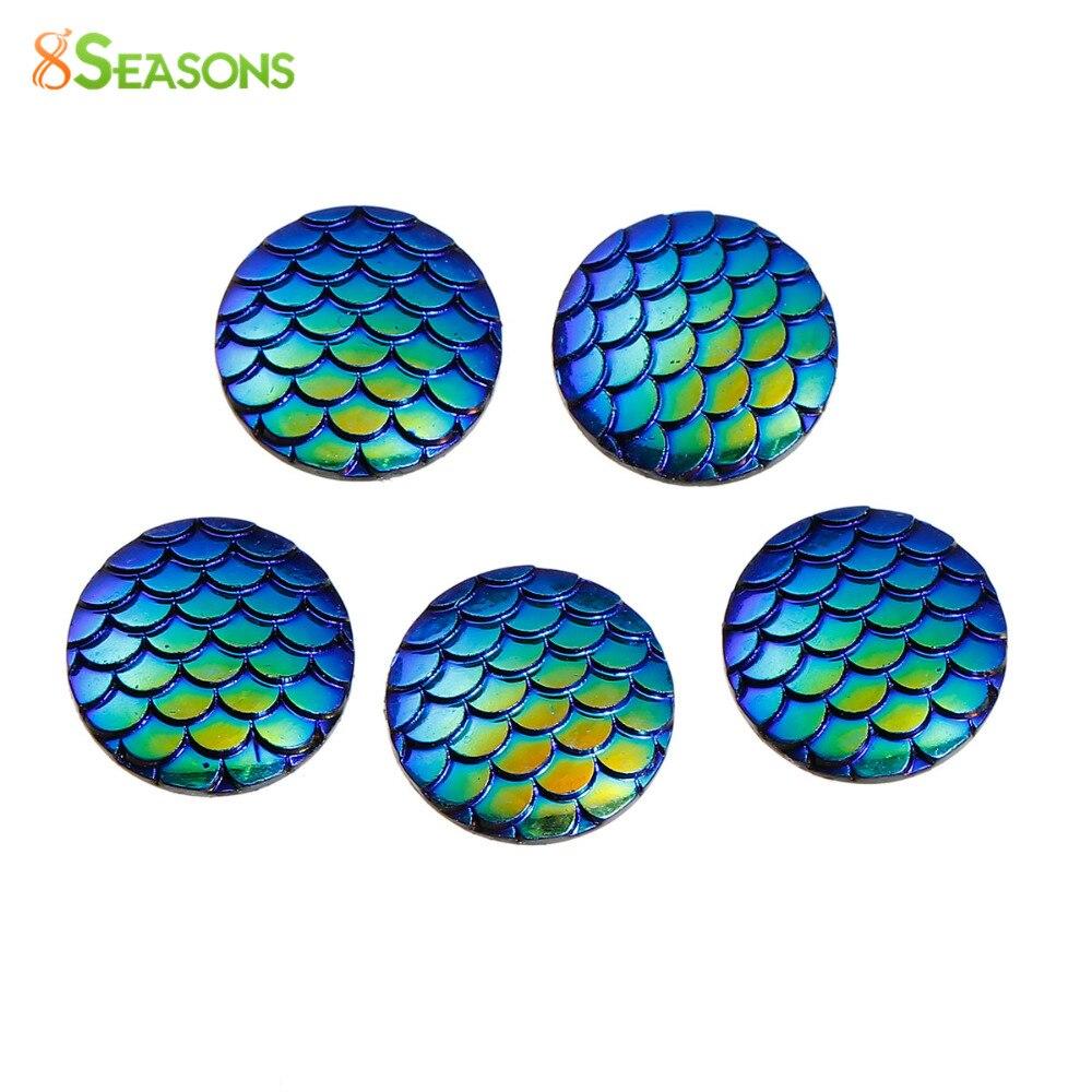 10 pcs Blue Green Mermaid Fish Scales Dragon Cameo Domes Cabochons 25mm Circle
