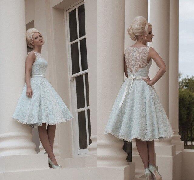 Estilo Vintage vestidos simples de la boda Popular de té de longitud ...