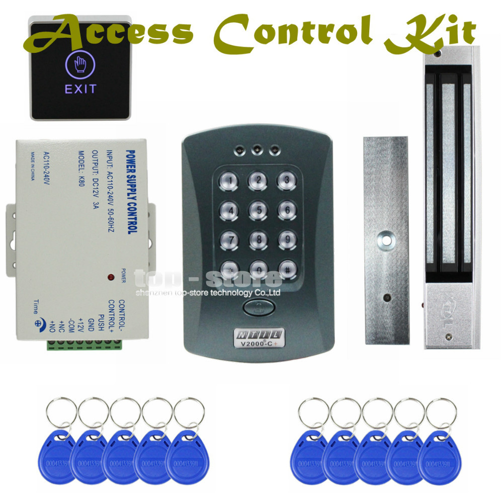 DIYSECUR 125KHz RFID Password Keypad Access Control System Security Kit + 280kg Magnetic Lock + Exit Switch V2000-C diysecur 125khz rfid reader password keypad access control system security kit 280kg magnetic lock door lock exit button