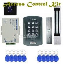 DIYSECUR 125KHz RFID Password Keypad Access Control System Security Kit + 280kg Magnetic Lock + Exit Switch V2000-C