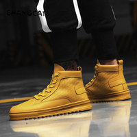 2018 winter Men's Vulcanize Shoes Men white yellow all black High Top Fashion Sneakers Lace up High Style Solid Colors Man Shoes
