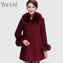 YOFEAI 2016 Jackets Women Fashion Big Fur Collar Coat Autumn Winter Wool & Blends Woolen Casual Long Style Jackets Female Coats