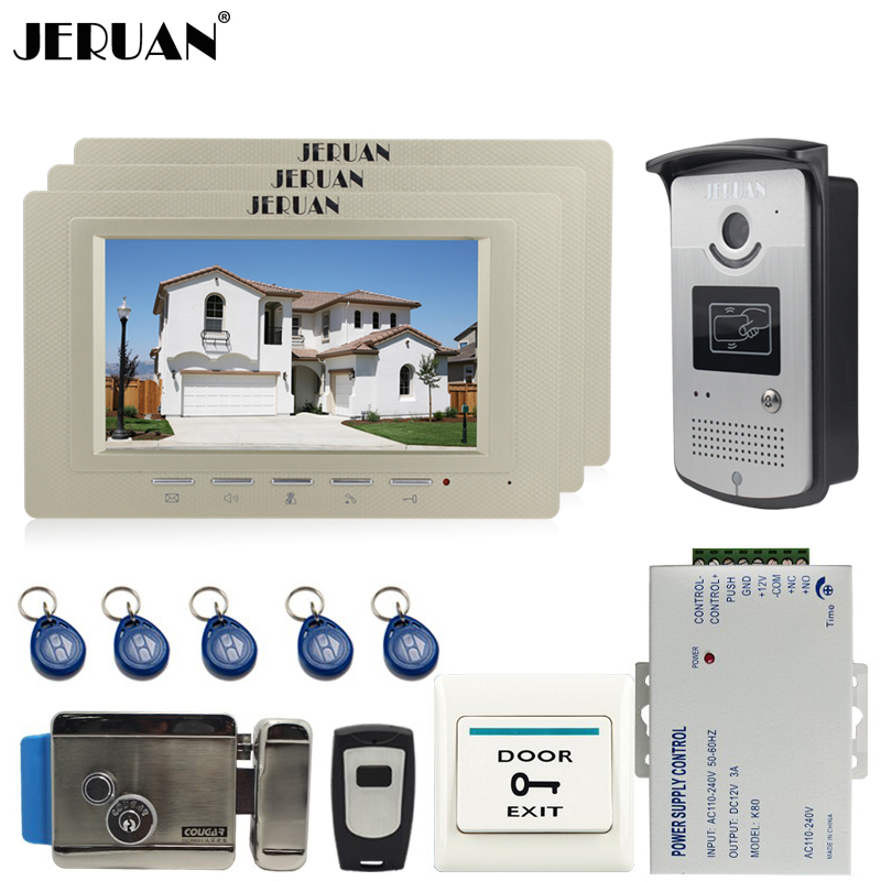 JERUAN 7 inch Color Screen Video Door Phone Intercom System 3 Monitors +700TVL RFID Access IR Camera For 3 house In Stock jeruan home 7 video door phone intercom system kit 1 white monitor metal 700tvl ir pinhole camera rfid access control in stock