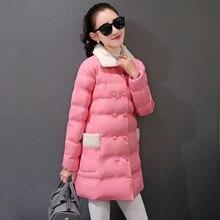2016 новинка одежды длинный отрезок большой размер вниз хлопка-ватник женщин женщины тонкий дамы теплые куртки пальто подарок 05