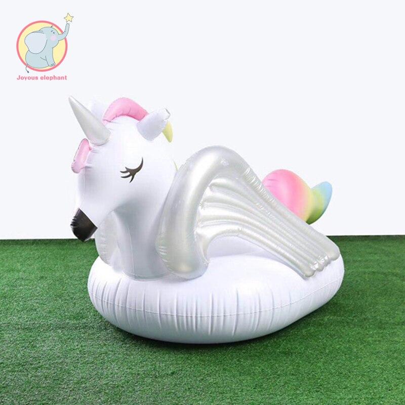 275 cm gonflable licorne arc-en-ciel cheval piscine flottant rangée anneau de natation cercle Air matelas eau jouet pour enfant adulte plage fête