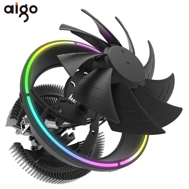 Aigo CPU Cooler LED 120 Mm CPU Cooling Fan PWM Diam Pendingin CPU LGA/115X/775/AM3 /AM4 3Pin PC CPU Pendingin Radiator Amd Heat Sink