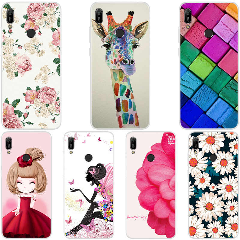 Cartoon Animal Flower TPU Case For Huawei Y6 2019 painted Phone Case For Huawei Y6 2019 Soft Silicone Back Cover Case