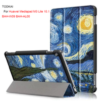 Colorful Painted Case For Media Pad M3 Lite 10 Ultra Thin Slim Smart Cover Case For