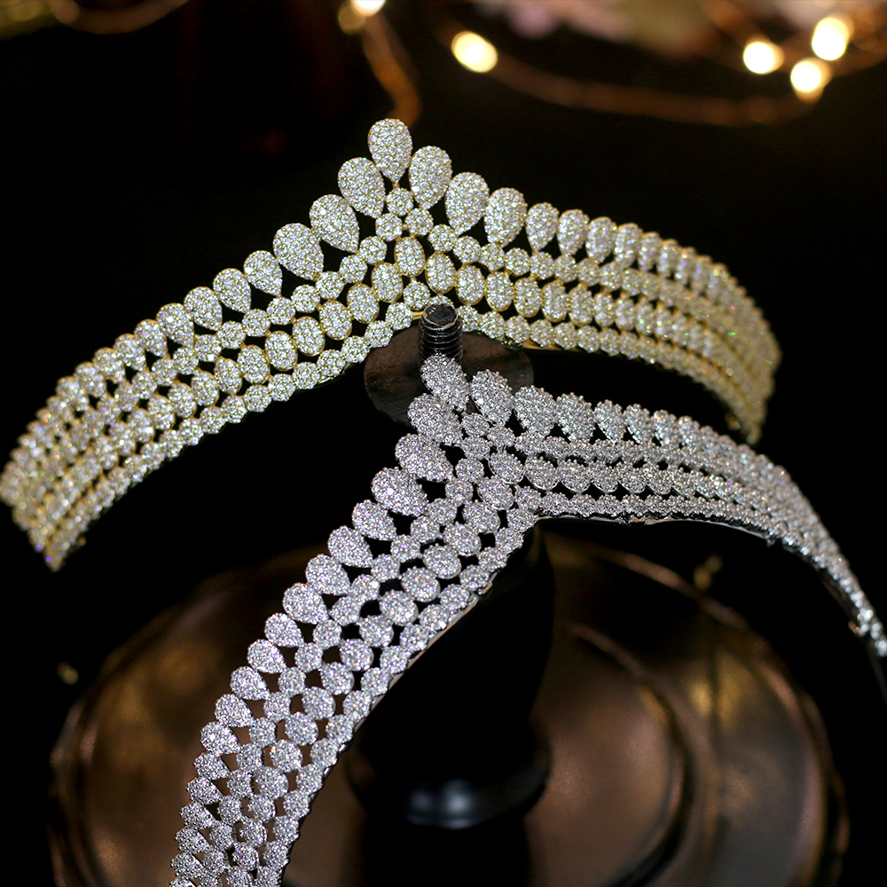 High quality zirconia crown wedding hair accessories bride hair band wedding dress jewelry gift box packaging