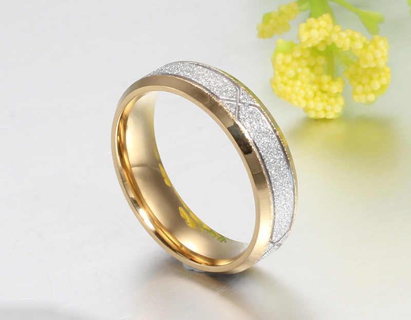 V noxแฟชั่นแหวนคู่สำหรับผู้หญิงผู้ชายf rosted m atteสแตนเลสกับCZคนรักแต่งงานแหวนหมั้น