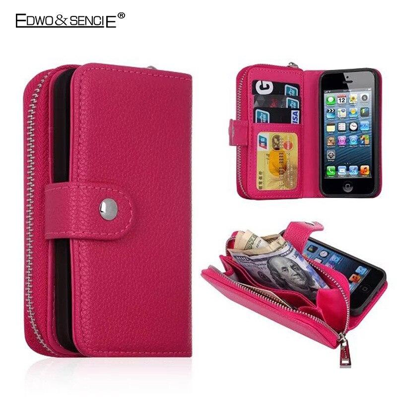 imágenes para Case para apple iphone 6 6s 7 edwo plus 5S se 4 4S flip pu cartera de cuero bolso de la bolsa de la cremallera desmontable imán cubierta del teléfono case