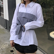 Blusas Mujer De Moda 2018 Autumn White Blouse Harajuku Blouses Women Plaid Patchwork Shirts Korean Ladies Tops Camisa Feminina