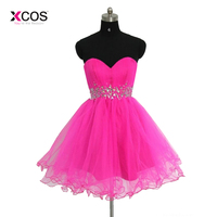 2018 Hot Pink Organza Sweetheart Short Homecoming Dresses For Junior Crystals Above Knee Mini Graduation Gown High Quality