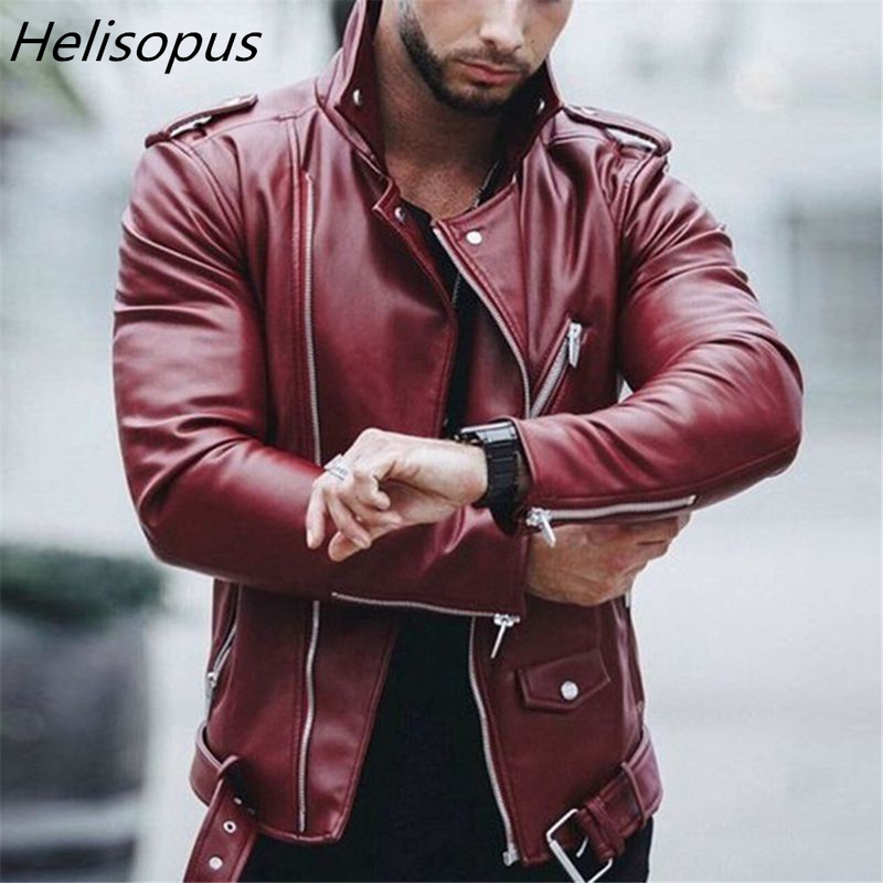 US $31.89 45% OFF|Helisopus Men Faux Leather Jackets Autumn Winter Fashion Biker Windbreaker Slim Fit Zipper Leather Coat|Faux Leather Coats| |  - AliExpress
