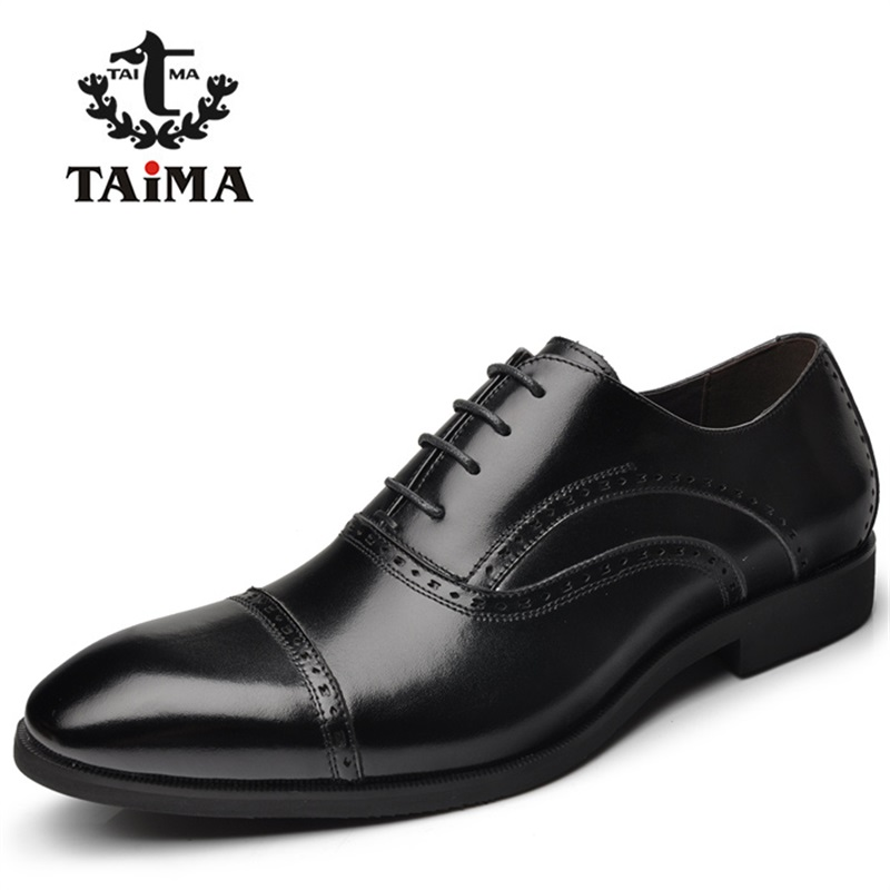 New Arrival Top Quality Men Business Casual Leather Shoes Men Oxfords Classic Black Dress Wedding Shoes Brand TAIMA 40-45 top quality crocodile grain black oxfords mens dress shoes genuine leather business shoes mens formal wedding shoes