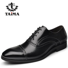 New Arrival Top Quality Men Business Casual Leather Shoes Men Oxfords Classic Black Dress Wedding Shoes Brand TAIMA 40-45