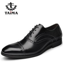 Nueva Llegada de Calidad Superior de Los Hombres de Cuero Casual de Negocios Zapatos de Los Hombres Zapatos Oxfords Negro Clásico Vestido de Novia Marca TAIMA 40-45
