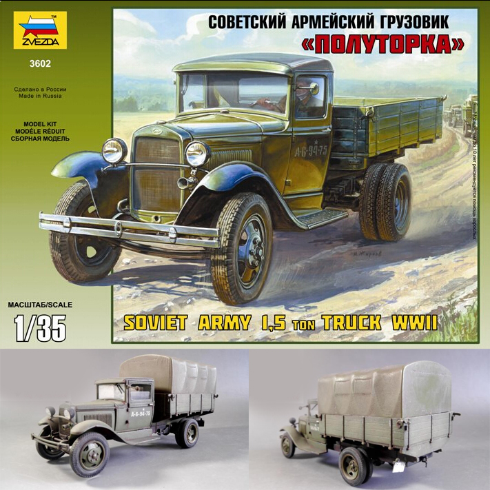 <font><b>1/35</b></font> World War II Soviet 1.5 ton Transport Truck 1:35 WWII CCCP Military Assembly Armored Vehicle <font><b>Model</b></font> <font><b>Building</b></font> <font><b>Kit</b></font> 3602 image