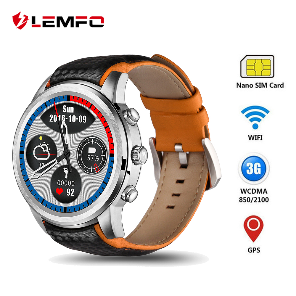 LEMFO LEM5 3G Smartwatch Android 5.1 GPS Mens Orologi SIM Card Wifi Bluetooth Heart Rate Monitor Touchscreen Telefoni Android