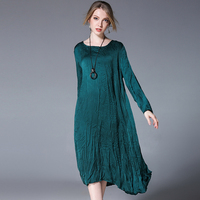 4XL Women Stain Dress O Neck Dress Summer 2018 Red Green Maxi Long Party Loose Spring Full Sleeve Casual Oversized Dresses