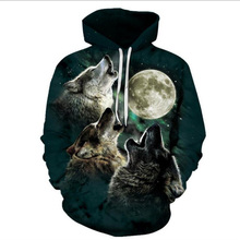 hot sale Autumn New Fashion Drawstring Hoodies galaxy wolf 3d Moon Digital Printing Men/Women Hooded Sweatshirt