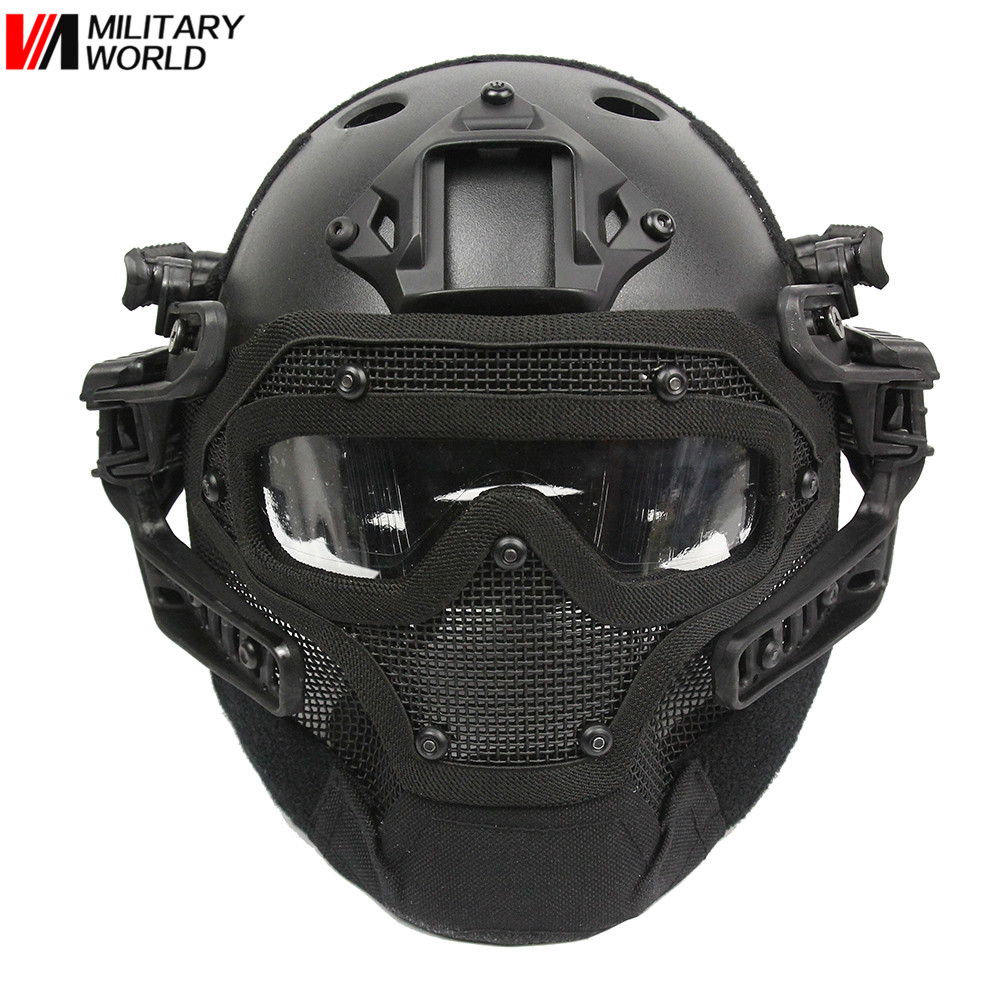 G4 System/Set PJ Helmet With Overall Protection Glass Hunting Face Mask Paintball Accessories Tactical Airsoft Helmets+Goggles! airsoft adults cs field game skeleton warrior skull paintball mask