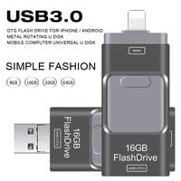USBแฟลชไดรฟ์3.0 OTGสำหรับIphone 5/5วินาที/5c/6/6 Plus/7/ipad/Android Pendrive USBติดมินิUSBแฟลชโลหะ64กิกะไบต์32กิกะไบต์USBแฟลช