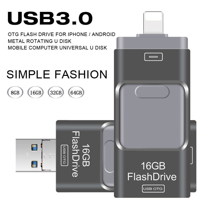 все цены на  USB Flash Drive 3.0 OTG for Iphone 5/5s/5c/6/6 Plus/7/ipad/Android Pendrive USB Stick Mini USB Flash Metal 64GB 32GB USB Flash  онлайн