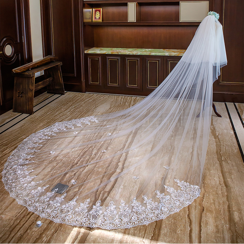 Stunning 3 Meters Long Wedding Veils Cathedral Length Appliques 3D Floral Bridal Vail with Comb Crystal Wedding Accessories velo