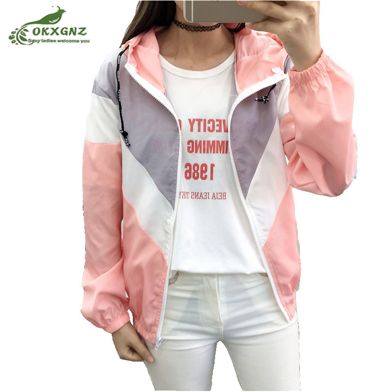 Hooded Two Tone Windbreaker Jackets Women Color Block Zipper Jacket 2018 Fall Fashion Casual Sun protection clothing Outerwear