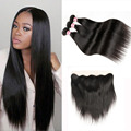 Mink Brazilian Virgin Hair With Closure 8A Ear To Ear Lace Frontal Closure With Bundles Straight Human Hair Bundles With Frontal