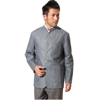 New Fashion Gray Beige Male Cotton Linen Reversible Overcoat Chinese Style Solid Jacket Chinese tunic suit S M L XL XXL XXXL