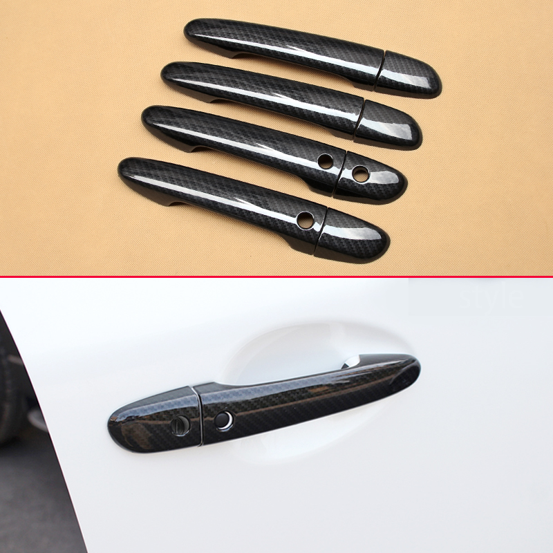 Smart Keyless Car Door Handle Carbon Fiber Overlay Trims For <font><b>Mazda</b></font> 2 3 6 CX3 <font><b>CX5</b></font> CX9 DJ DL DK BM BN GJ GL KE KF TC <font><b>Accessories</b></font> image