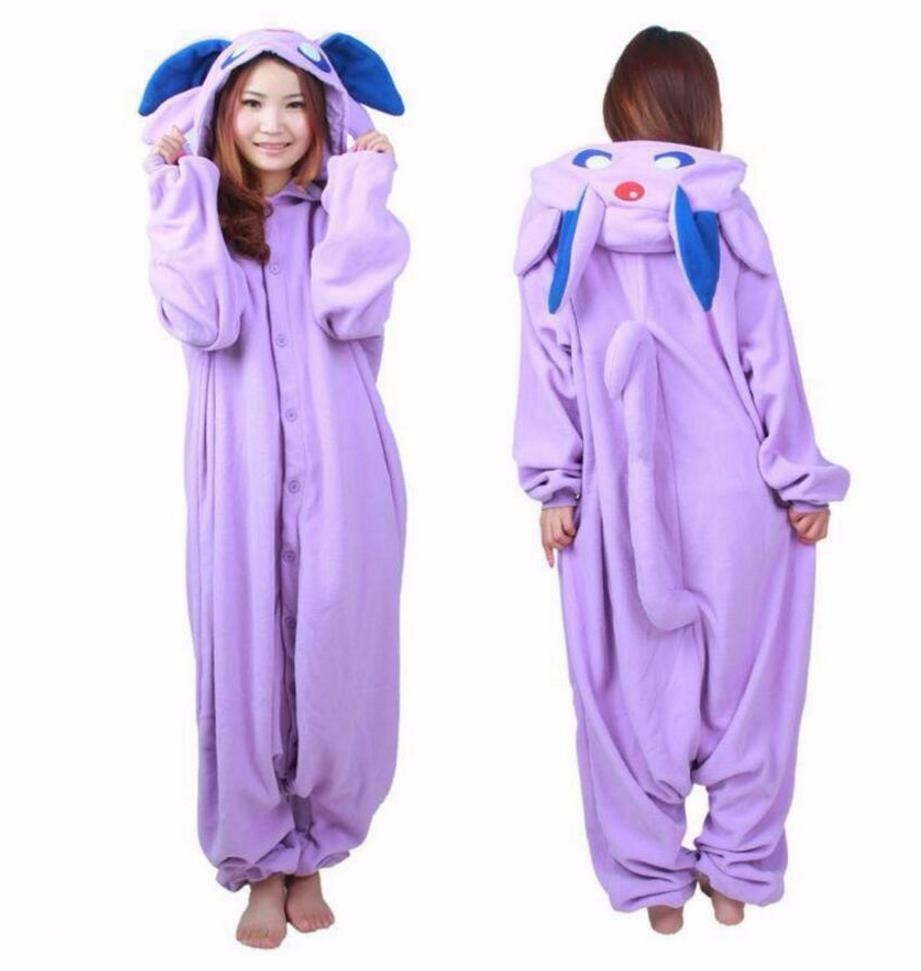 Christmas Halloween Birthday Gift Pocket Monster Master Espeon Fleece Pajamas Onesie Sleepwear