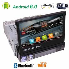 Free wireless camera Single din 7 inch LCD TFT Display gps car dvd player android 6